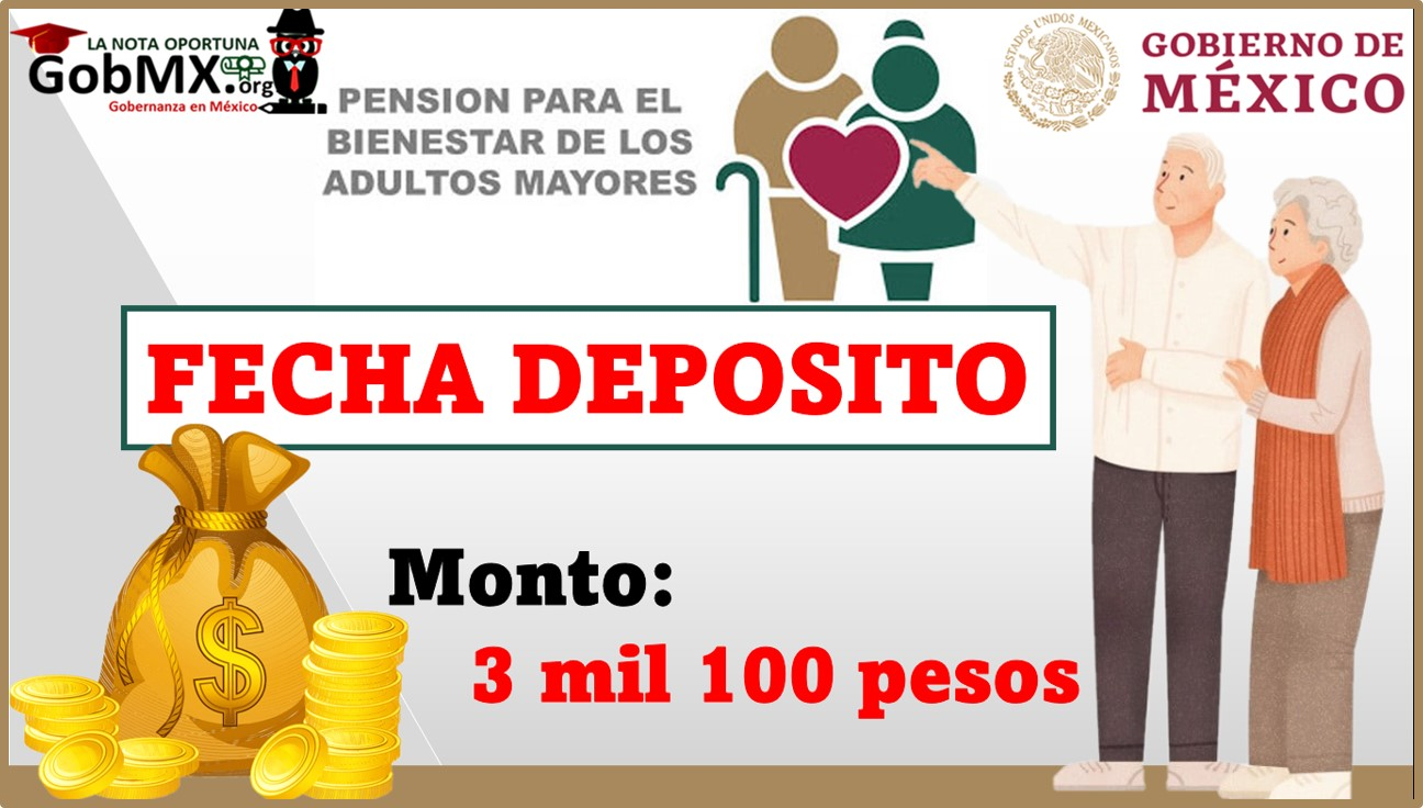 Fecha para el Próximo Deposito Pensión para el Bienestar de los Adultos Mayores