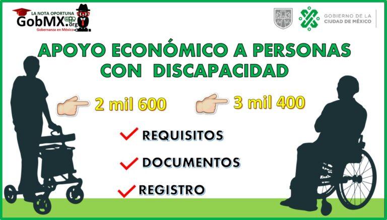 Otorgan hasta 3 mil 400 pesos a personas con discapacidad